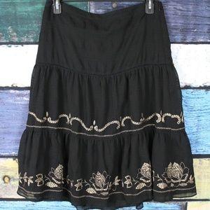 LOFT Black Cream Floral Embroidered A-Line Skirt